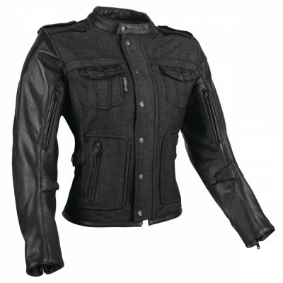 Speed & Strength Six Speed Sisters Womens Leather-Textile Jacket (Black / 3XL) [Warehouse Deal]