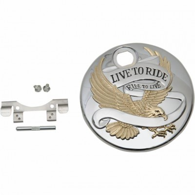 Drag Specialties Live to Ride Fuel Console Door - Chrome w/ Gold Highlights [Warehouse Deal]