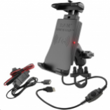 Ram Mounts RAM Quick-Grip Wireless Charging Holder with U-Bolt Handlebar Mount and Hardwire Charger