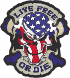 Lethal Threat Live Free or Die USA Skull Embroidered Patch