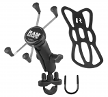 Ram Mounts RAM Handlebar Rail Mount with Zinc Coated U-Bolt Base & Universal X-Gripr Large Phone/Phablet Cradle