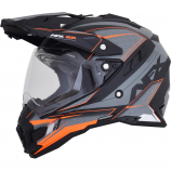 AFX FX-41DS Frost Gray/Neon Orange Eigar Helmet