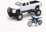 New Ray Toys 1:43 Scale White Chevy Silverado 4x4 with Yamaha Dirt Bike