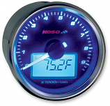Koso North America GP-Style Universal Tachometer w/ Temperature Guage - Black Background [Warehouse Deal]