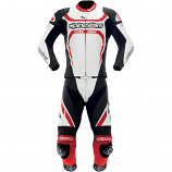 Alpinestars Motegi Two-Piece Leather Suit (Black/White/Red / 42US) [Less Than Perfect]
