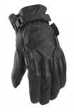 Power Trip Jet Black Leather Womens Gloves