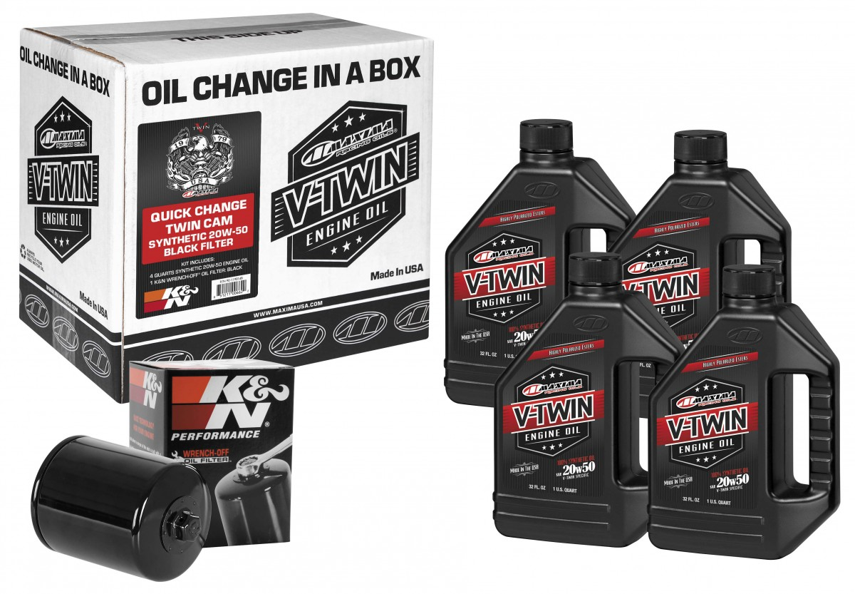 Synthetic Oil Change >> Maxima Quick Change Twin Cam Synthetic Oil Change Kit With Black Filter 20w50